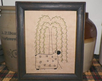 UNFRAMED Primitive Sheep Stitchery Prim Picture Grungy Rustic Stitched Folk Art Embroidery Handmade Accent Gift Idea Willow wvluckygirl