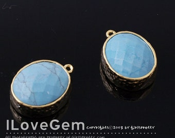 SALE / 10pcs /  B2721 Gold plated, Imitation Turquoise, Oval pendant