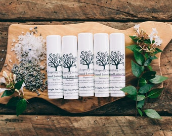 Solid Lotion, Lotion Stick -  All Natural & Made with 100% Organic Ingredients - Lavender, Lemongrass or Peppermint