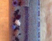 Felted Wool Eye Glass Case Blue Gray Embroidery Flowers Upcycled Wool Sweater Hand Sewn