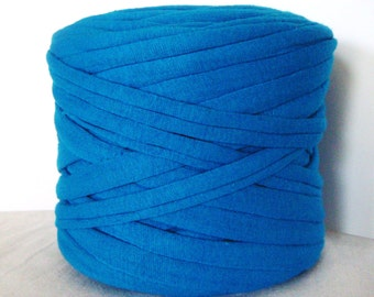 Blue T-Shirt Yarn, Cotton T-Shirt Tricot, Fabric Jersey Ideal for Necklaces, Bracelets, Rugs and Bags - 2,7m/3 yards(1 piece)