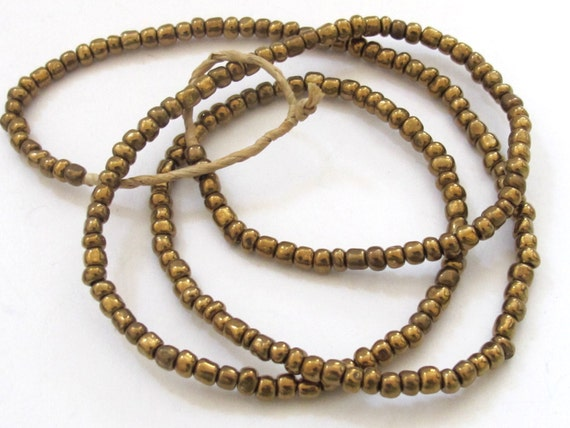 1 FULL STRAND  24 inches long - Ghana gold brass color african glass beads - 175 plus beads - AB003