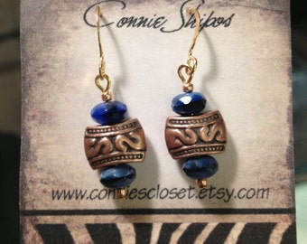 Earrings-copper and lapis