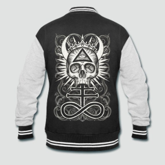 Illuminati Skull with Leviathan Cross varsity jacket