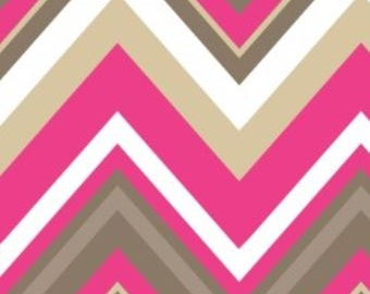 Camelot Fabric's Bright Now, Chervon & On (Pink) 1 yard