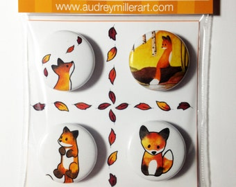 The Fox in the Fall Magnet 4 Pack - 1 inch handmade magnets