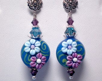 Les Fluer's Floral Lampwork Earrings in Teal Blue and Amethyst