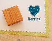 Custom Block Heart Olive Wood Stamp