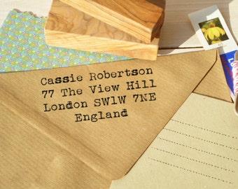 On My Old Typewriter Return Address Olive Wood Stamp