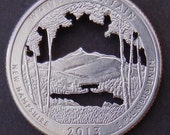The White Mountain National Forest Quarter Hand Cut Coin Jewelry