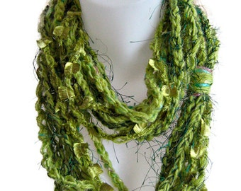 Infinity scarf, chain scarf, handmade, crochet, light green, soft wool, circle scarf, lady gift, bright color