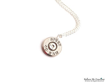 Silver Smith and Wesson Bullet Necklace For Her Country Military Policewoman