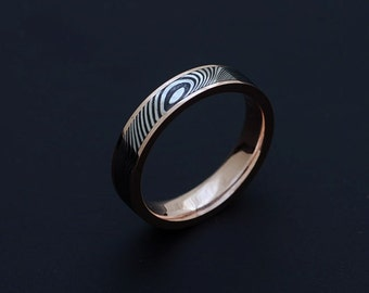 Genuine stainless Damascus Steel and 18K Yellow Gold Mens Ring PD73