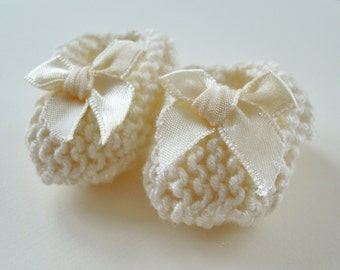 Baby shower/ baptism DECORATIONS - mini ivory baby shoes with outsized ivory bows - 2 inches - MOP cream cross option