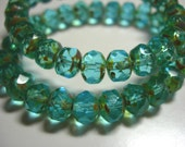 25 beads - 8x6mm Aqua Picasso Czech Fire polished Rondelle beads