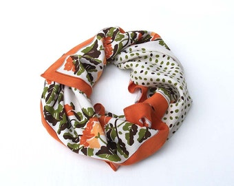 Rustic Floral Vintage Scarf - White, Orange and Green