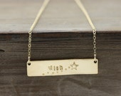 Gold Bar Necklace, Custom Name, Date, Monogram, Bar Necklace, gold, brass, or silver necklace