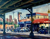 New York City Original Oil Painting, Broadway Bridge Car Wash, NYC. 11x14 Framed Realist Fine Art, Signed Original Cityscape