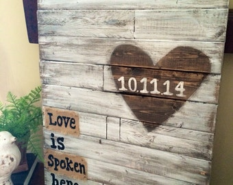Wedding Alternative Guest book - Love is Spoken Here - Wedding guest book - Save the Date - Distressed Wooden Art -
