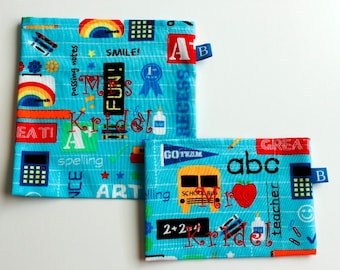 Reuseable Eco-Friendly Personalized Set of Snack and Sandwich Bags for Teacher Gift
