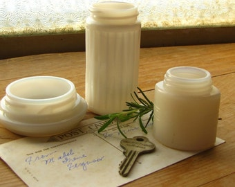 Instant Collection of Vintage Milk Glass Bottles Jars Farmhouse Apothecary Bath