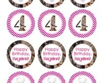CUSTOM Camo Cupcake Toppers, Girl Birthday Party, Pink, Chevron, Hunting, Deer, Duck Dynasty