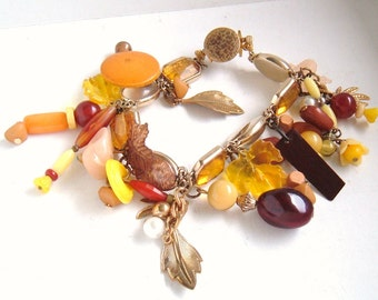 fall charm bracelet recycled vintage leaves brown yellow amber