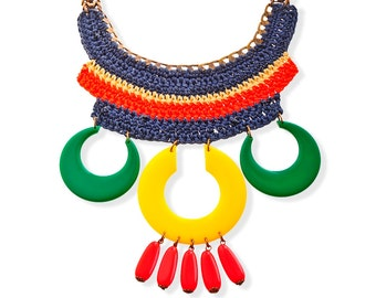 Oversize necklace, bold chuncky etnic tribal necklace, colorful statement crochet jewelry