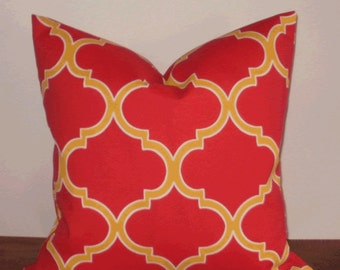 SALE ~ Outdoor Decorative Pillow:  18 X 18 Decorator Accent Outdoor Pillow Cover in Large Trellis Deep Orange/Tomato Red and Yellow Design
