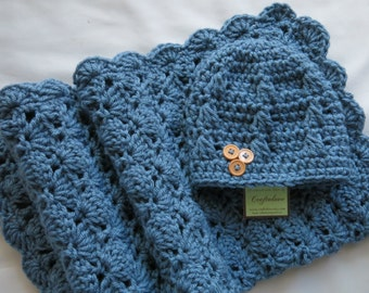 Crochet baby blanket- Baby Boy Shower Gift Set- Baby Boy Blanket- Baby blanket- Teal Blue Stroller/Travel size blanket and Button Beanie
