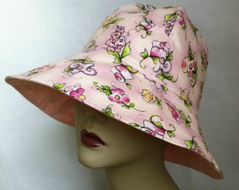 Take me anywhere, Ladies Sun Hat, Floppy Hat, Gardening Hat, Ladies Bucket Hat, Floral Hat, Beach Hat, Ladies Fishing Hat, Neck Cover Hat