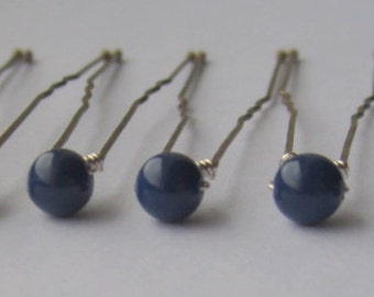 Dark Lapis Bridal Hair Pins, Wedding Hair Pins, Pearl Bobby Pins, Swarovski Hair Pins, Single Pearl Hair Pins - Set of 6 Hair Pins 5mm