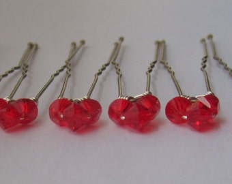 Light Siam Triple Bridal Hair Pins, Wedding Hair Pins, Crystal Hair Pins, Crystal Bobby Pins, Swarovski Hair Pins - Set of 6