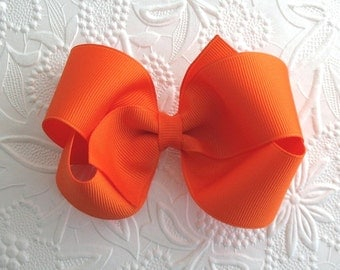 "Orange Hair Bow ~ Toddler Bow / Girls Hair Bow, Halloween Hair Bow ~ Boutique Bow, 4"" Orange Hair Bow"