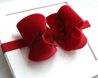 Red Velvet Christmas Hair Bow Headband for Girls, Velvet Bow Headband, Velvet Hair Bow