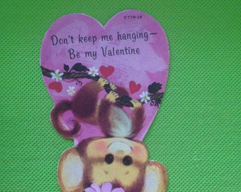 Vintage Valentine card with adorable monkey