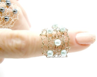 Ready to Ship mint green ring titanium wide pearl ring wire knit jewelry delicate ring metallic mesh mint green pearl
