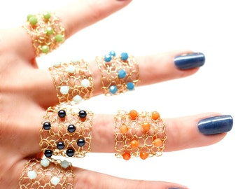 Summer Ring / Gold Ring / You Choose / Gold Band Ring / Wire Mesh  / Cocktail Ring / Bright Orange Navy Aqua Green Blue