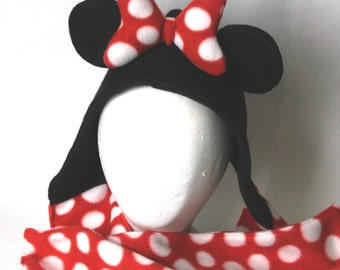 Minnie Mouse Inspired Fleece Hooded Scarf - TODDLER - RED