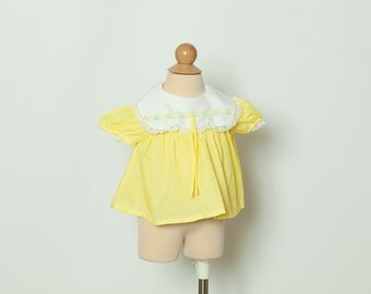 vintage 1970s baby girl's blouse ~ lemon yellow top
