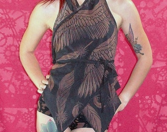 Icarus Wing Print Backless Halter Vest Wrap Music Festival Top