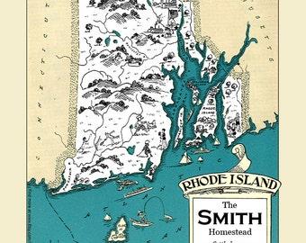 Rhode Island Map Etsy - Map of ri