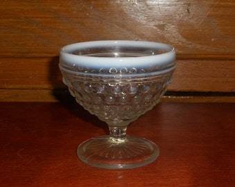 Vintage Fenton Moonstone Opalescent Hobnail Sherbert/Ice Cream Dish
