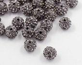 10 Pave Rhinestone Beads, Disco Ball Beads, Shamballa Beads,Grade A!!, Gray / Gunmetal Color, Round, 10mm,10 pcs A1