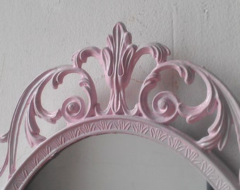 Vintage Pink Mirror in 12 by 8 Inch Oval Filigree Frame, Girls Room or Nursery Decor, Pink Nursery