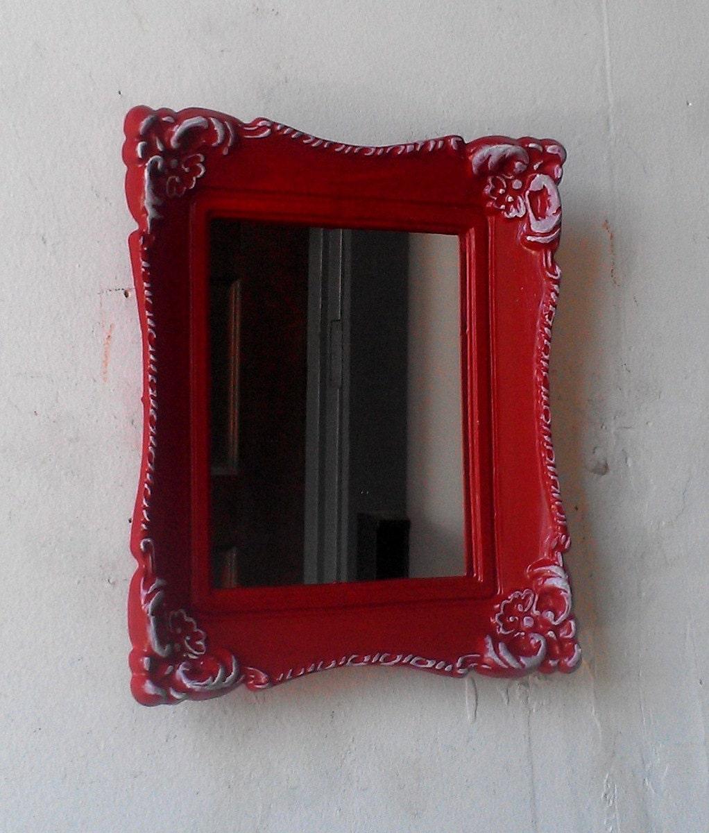 Small baroque mirror in decorative vintage frame glossy red for Small baroque mirror