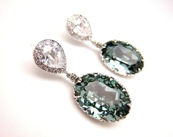 Swarovski indian sapphire blue oval vintage style foiled pendant silver teardrop post earrings- Free US shipping