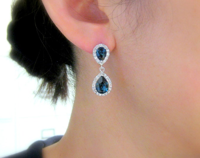 SALE Set of 3 4 5 6 7 8 pairs bridesmaid gift bridal party Clear white teardrop cubic zirconia deep navy montana blue crystal teardrop post