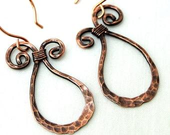 Paisley Swirl Earrings, Hammered Jewelry, Antiqued Copper Earrings