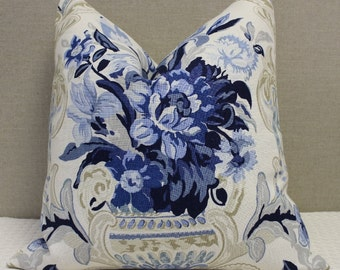 "SALE - Schumacher Aylesbury Vase print in Delft - 22""X22""- Pattern on the front"